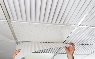 Corrugated Acoustic Ceiling Panel Installed