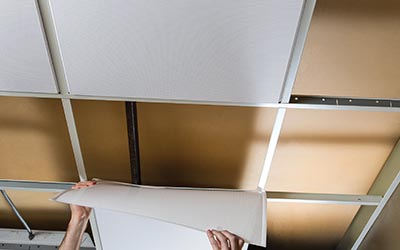 Microperforated Revealed Edge Acoustic Ceiling Panel Installed