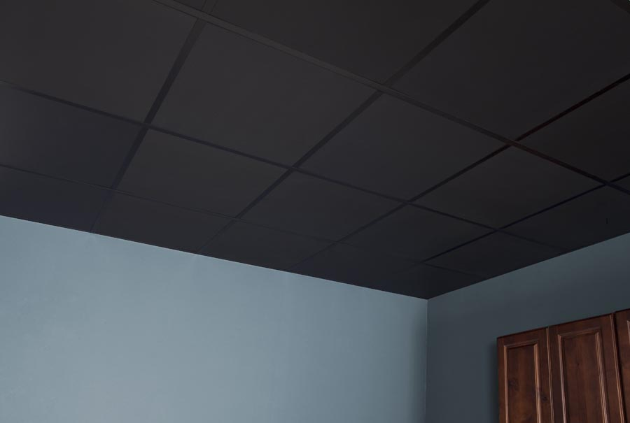 Recycled Ceiling Panel 2x2 in Black Installed