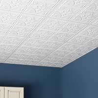 Room with Antique-White ceiling panels